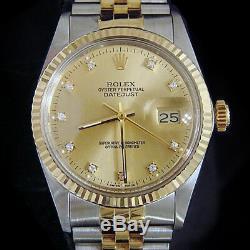 Rolex Datejust Champagne Bicolore En Or 18 Carats Et Acier Inoxydable Champagne Factory Diamond 16013