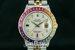 Rolex Montre Homme Datejust 16013 Lunette Saphir Arc-en-diamant Cadran Diamètre 36mm