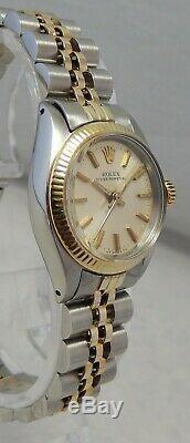 Rolex Oyster Perpetual 14k / Ss Montre Gold & Steel Pour Femme À Cadran Noir 2 Tons 1977