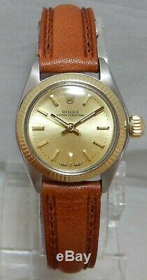 Rolex Oyster Perpetual 14k / Ss Or / Acier Dames Nice Regarder Sur Le Nouveau Groupe 1972