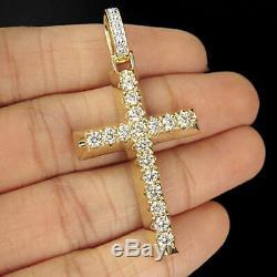 Round Cut 1.00ct Croix De Diamant Collier Vintage Pendentif En Or 14k Fini Jaune