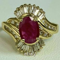 Ruby Baguette Round Diamond Halo Tourbillon Cluster Vintage Ring 14k Yellow Gold Over