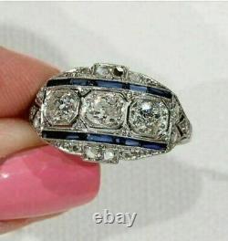 Saphir Bague 3.54 Ct Diamond Vintage Art Déco Bague De Mariage 14k Or Blanc Sur