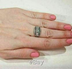 Sapphire Vintage Art Déco Bague 4ct Bague De Fiançailles De Mariage En Or 14k Plus