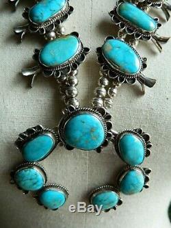 Signé Vtg Rn Ray Nez Navajo En Argent Sterling Turquoise Collier Squash Blossom