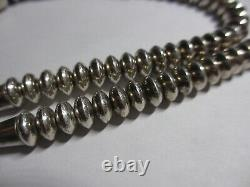 Spectaculaire 26 Vtg Rt Navajo Sterling Silver Soucoupe /tube Bead Collier-xfine
