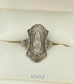 Spiderweb Filigre Vintage Art Déco Anneau 14k Or Blanc Plus De 0.36 Ct Diamant