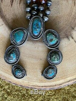 Squash Corail Vintage Turquoise Amérindien Collier Fleur Big