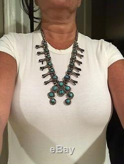 Squash Vintage Navajo Blossom Collier Turquoise En Argent Sterling 27