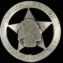 Sterling Silver Rare Police De Fort Apache Native American Indian Vtg Boucle De Ceinture