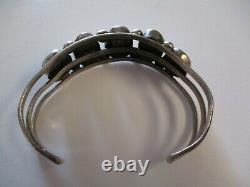 Sterling Silver Vintage Navajo Bracelet Bracelet D'art Tribal Sculpture Turquoise