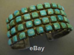 Sterling Vintage Turquoise Amérindien Ligne Argent Bracelet Signé Swm