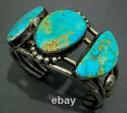 Stunning Huge Vintage Navajo Argent Sterling Gem Grade Turquoise Cuff Bracelet