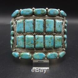 Super Grand Vintage Navajo En Argent Sterling Turquoise Cluster Manchette 93.8g