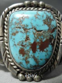 Superbe Vintage Navajo Bisbee Turquoise Sterling Bracelet Argent Vieux