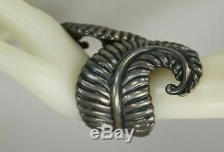 Taxco Vintage Signée Mexique En Argent Sterling Charnière Cuff Bracelet Bypass Clamper