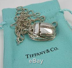 Tiffany & Co - Collier Avec Grosse Chaîne De Perles De 36 Po En Argent Sterling Vintage Scarab