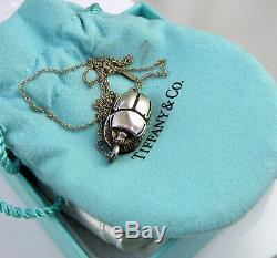 Tiffany & Co Collier Élégant En Argent Sterling Rare Vintage Scarab Heiroglyphics