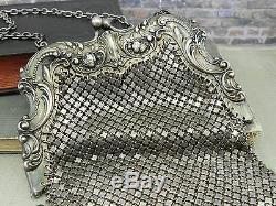 Tourner Antique De Siècle Gorham En Argent Sterling Maille Bourse B570m