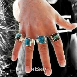 Turquoise Bague Vintage Style Bijoux En Argent Amérindien Navajo Mens Grand