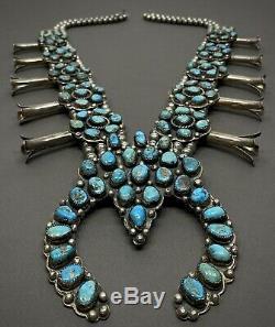 Turquoise Massive Vintage Cérémonie Navajo Argent Squash Blossom Collier 600g
