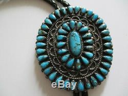 Turquoise Vintage Moderniste Navajo Sculpture En Argent Sterling Bolo Tie Géant Neal