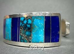 Turquoise Vintage Navajo Amérindien Lapis Inlay Bracelet Ray Tracey Nice