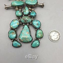 Un Collier De Fleurs Magnifique, Vintage, Vert Turquoise Et Argent Sterling