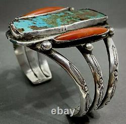 Unique Grand Vintage Navajo Sterling Silver Turquoise Coral Cuff Bracelet