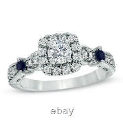 Vera Wang Love Collection 1.7 Ct Diamond Blue Saphir Vintage Bague 14k Gold Fn