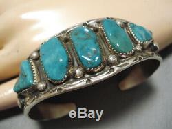 Vert Turquoise Vintage Navajo Énorme Argent Sterling Bracelet Marc James