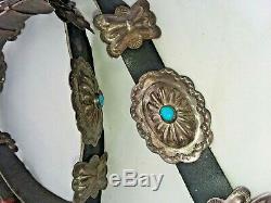 Very Nice Vintage Navajo En Argent Sterling Et Turquoise Concho Ceinture