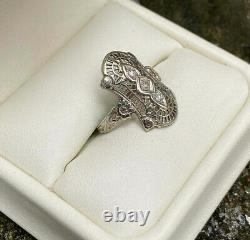 Victorian Édouardian Filigre Fine Ring 925 Argent Sterling 1.9 Ct Rond Diamant