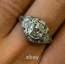 Victorian Edwardian Antique Bague De Fiançailles 14k Or Blanc Sur 2,18 Ct Diamant