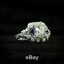 Victorien Vintage De Fiançailles Bague 2 Ct Diamant Rond 14k Or Blanc Fn