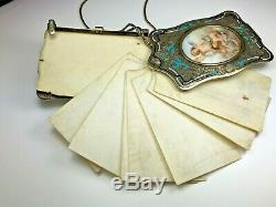 Victorienne Antique Argent Sterling Or Danse Carte Châtelaine Chérubin Aide-mémoire