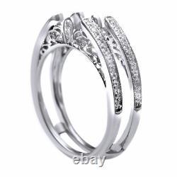 Vieille Bague Cathédrale Garde Solitaire Diamond Enhancer 14k Or Blanc Sur 925