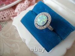 Vieille Bijoux Sterling Argent Opal Bague Avec Sapphires Ancien Deco Bijoux