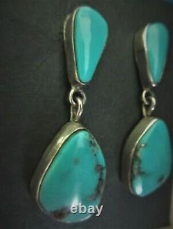 Vieilles Boucles D'oreilles Vintage Navajo Gem Quality Mined Blue Turquoise 925 Sterling Silver