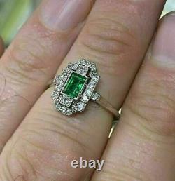 Vieilles Fiançailles Mariage Antique Art Déco Anneau 925 Argent Sterling 2ct Emeraude