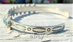 Vieux Bracelet De Manchette À Oeil Sterling Vert De Serpent De Zuni