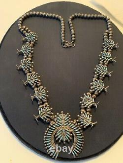 Vieux Collier De Fleur Turquoise De Point D'aiguille De Pawn Vintage De Zuni Sterling