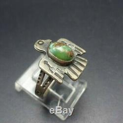 Vieux Harvey Era Vintage Navajo Argent Sterling Turquoise Thunderbird 6.5 Sz Ring