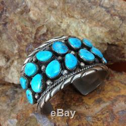 Vieux Vintage Pion Authentique Navajo Kingman Turquoise 16 Stone Grand Bracelet