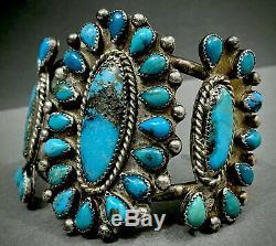Vieux Vintage Zuni En Argent Sterling Kingman Turquoise Cluster Bracelet