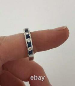 Vintage 14k Blanc Or Sur Bleu Saphir Et Bagues De Bande D'éternité Diamant