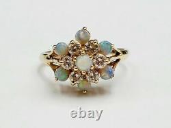 Vintage 14k Or Jaune Au-dessus De L'opale De Feu Et Bague De Groupe De Fleur De Fiançailles De Diamant