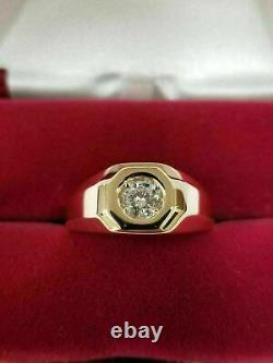 Vintage 14k Yellow Gold Over Mens 1.00 Ct Round Cut Diamond Solitaire Pinky Ring