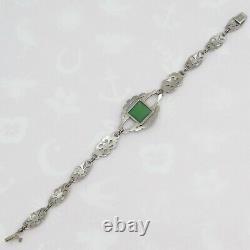 Vintage 1930s Art Déco Argent Sterling Naturel Chrysoprase Bracelet Marcasite