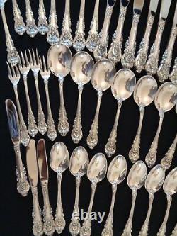 Vintage 1936 Wallace Sir Christopher 48 Pcs Pour 8 Sterling Silver Flatware Ensemble